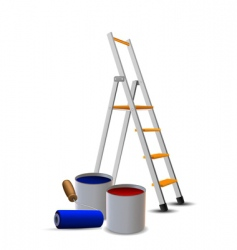 steps paint drums and roller vector image