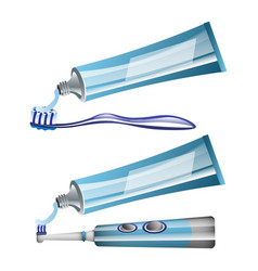Toothbrushes toothpaste and electric toothbrush vector