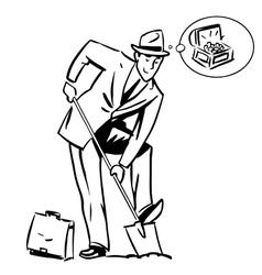 Treasure hunter dream business finance concept vector image