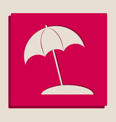 Umbrella and sun lounger sign grayscale vector