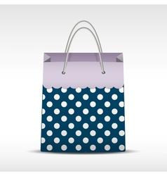 Vintage shopping bag in retro polka dots vector image