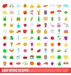 100 wine icons set cartoon style vector
