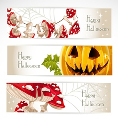 Happy halloween horizontal banner with mushroom vector
