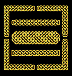 celtic knots borders and corner elements vector image