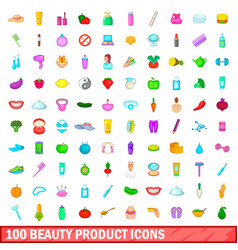 100 beauty product icons set cartoon style vector