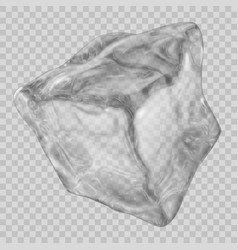 Transparent gray ice cube vector