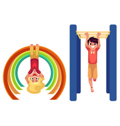boy and girl climbing hanging on monkey bars at vector image