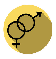 Sex symbol sign  flat black icon with flat vector