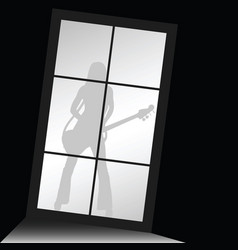 Girl figure silhouette with guitar front of window vector