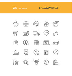 Online shopping line icons set vector