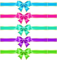 Bright holiday bows with gold border and ribbons vector image