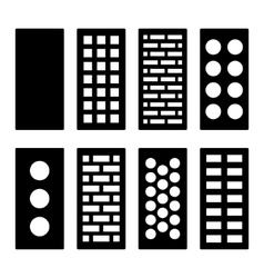 Different type bricks icons set vector