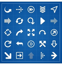 Arrow sign pack on blueprint elements vector