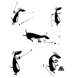 Comic dogs are playing golf vector