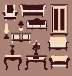 Vintage furniture interior icon vector