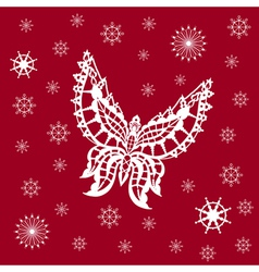 Ornamented abstract lace snowflake butterfly and vector
