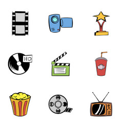 3d cinema icons set cartoon style vector