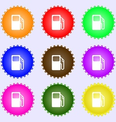 Auto gas station icon sign a set of nine different vector
