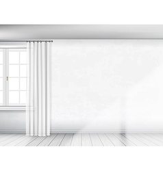 White wall with window and curtain background vector