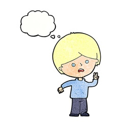 cartoon unhappy boy giving peace sign with thought vector image