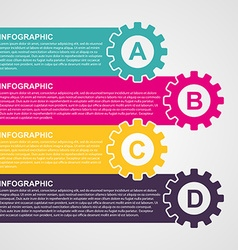 Infographic design style colorful gears vector