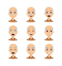 Old man emotions icons vector