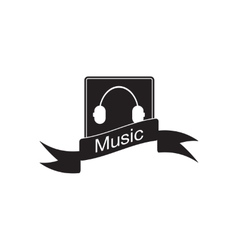 Flat icon in black and white mobile music vector
