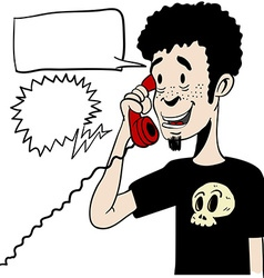 Boy talking on a phone with empty speech bubbles vector