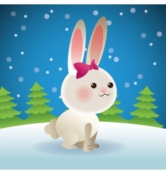 Rabbit and pine tree icon snowing background vector