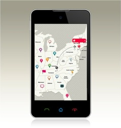 Smart phone with map pins vector