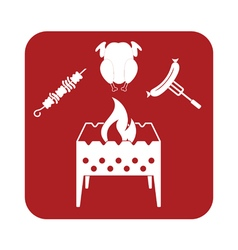 Brazier kebab chicen and sausage icon vector