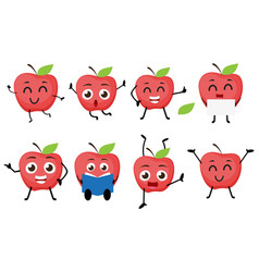 Apple fruits cartoon character vector