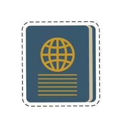 Blue passport identification tourist cut line vector