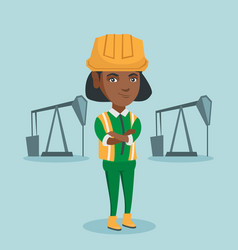 Cnfident oil worker standing with crossed arms vector