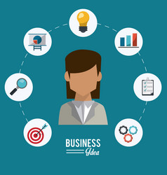 Colorful poster of businesswoman with icons set vector