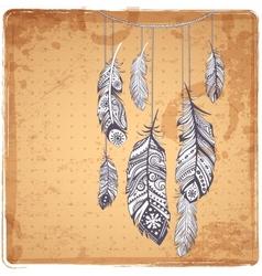 Ehnic feathers vector image vector image