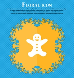 Gingerbread man icon sign floral flat design on a vector