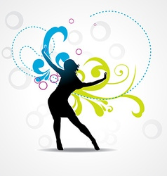 Girl dancing background vector image