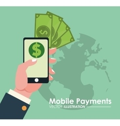hand holds smartphone online mobile payments globe vector image