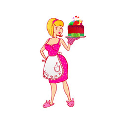 Housewife with berries cake vector