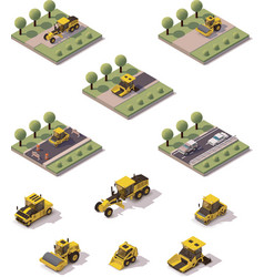 isometric road surface making technology vector image vector image
