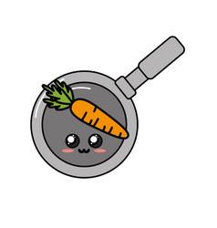 Kawaii cute tender carrot inside skillet pan vector