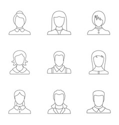 Look icons set outline style vector