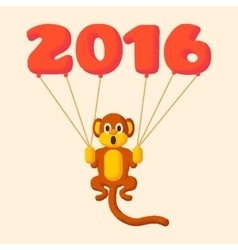 Monkey dotted symbol of 2016 with balloons vector image