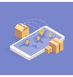 Online delivery tracking concept isometric icon vector