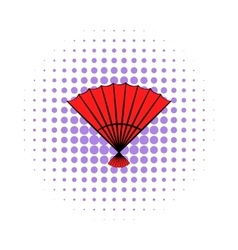 Red open hand fan icon comics style vector