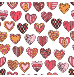 seamless pattern of hand drawn hearts vector image vector image