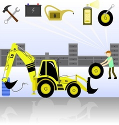 Service and diagnostics backhoe loader vector