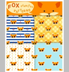 Set of animal seamless patterns with fox 1 vector