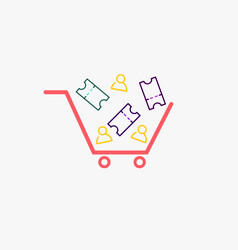 Simple cart with ticket and person icons cart vector